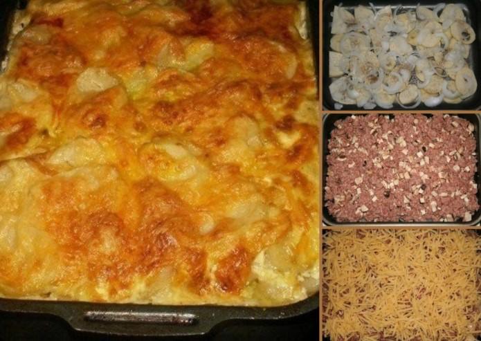Очень вкусная картофельная запеканка с фаршем в духовке рецепты с фото